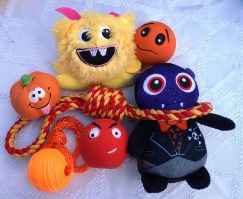 SPOOKY HALLOWEEN DOG TOY SET 7 FAB TOYS INCLUDES PLUSH DRACULA & HANGMAN'S NOOSE